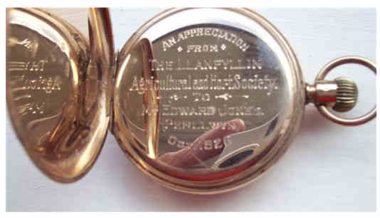 Gold Pocket Watch presented to Edward Jones in 1926, Chief Steward at Llanfyllin Show and Bailiff for the Dugdales at Penllwyn. The photo was supplied by his great grandson: Barry Jones, Penllwyn.